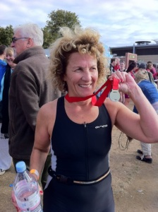 Her first triathlon medal at the HSBC event at Eton Dorney 2012