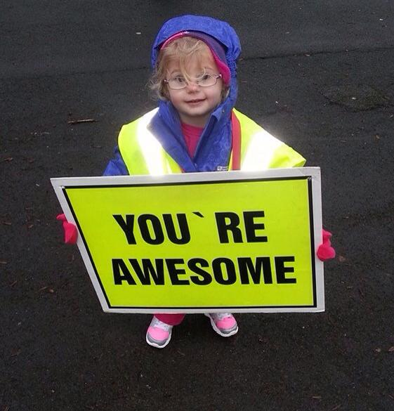 Linda Bussey's entry of Millie Smith-Eccles encouraging runners at the top of the 'teeny tiny hill' at Bradford parkrun.